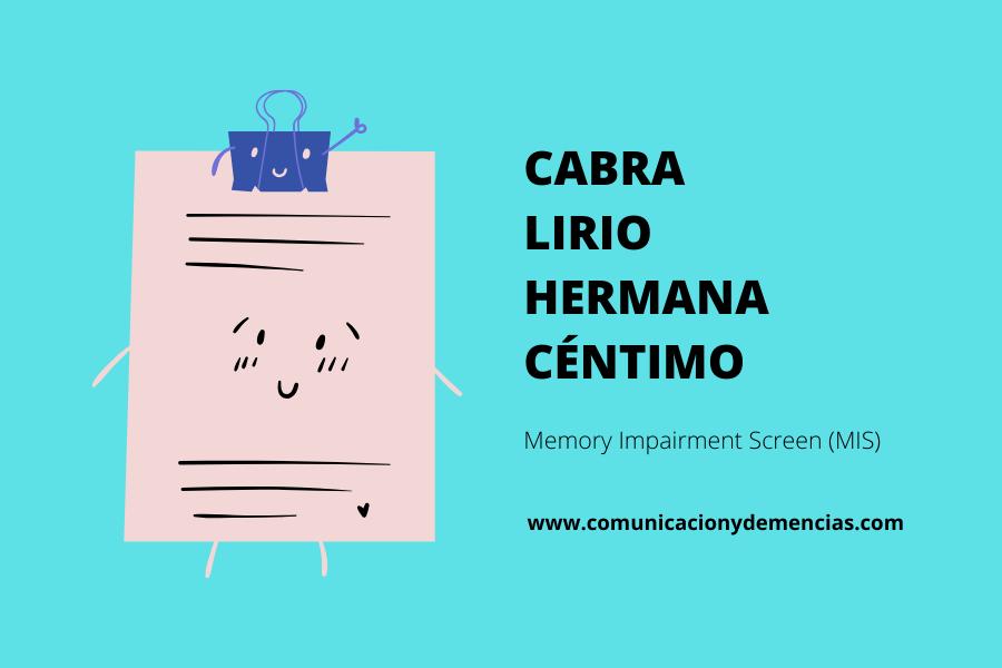 demencia Memory Impairment Screen (MIS) demencia